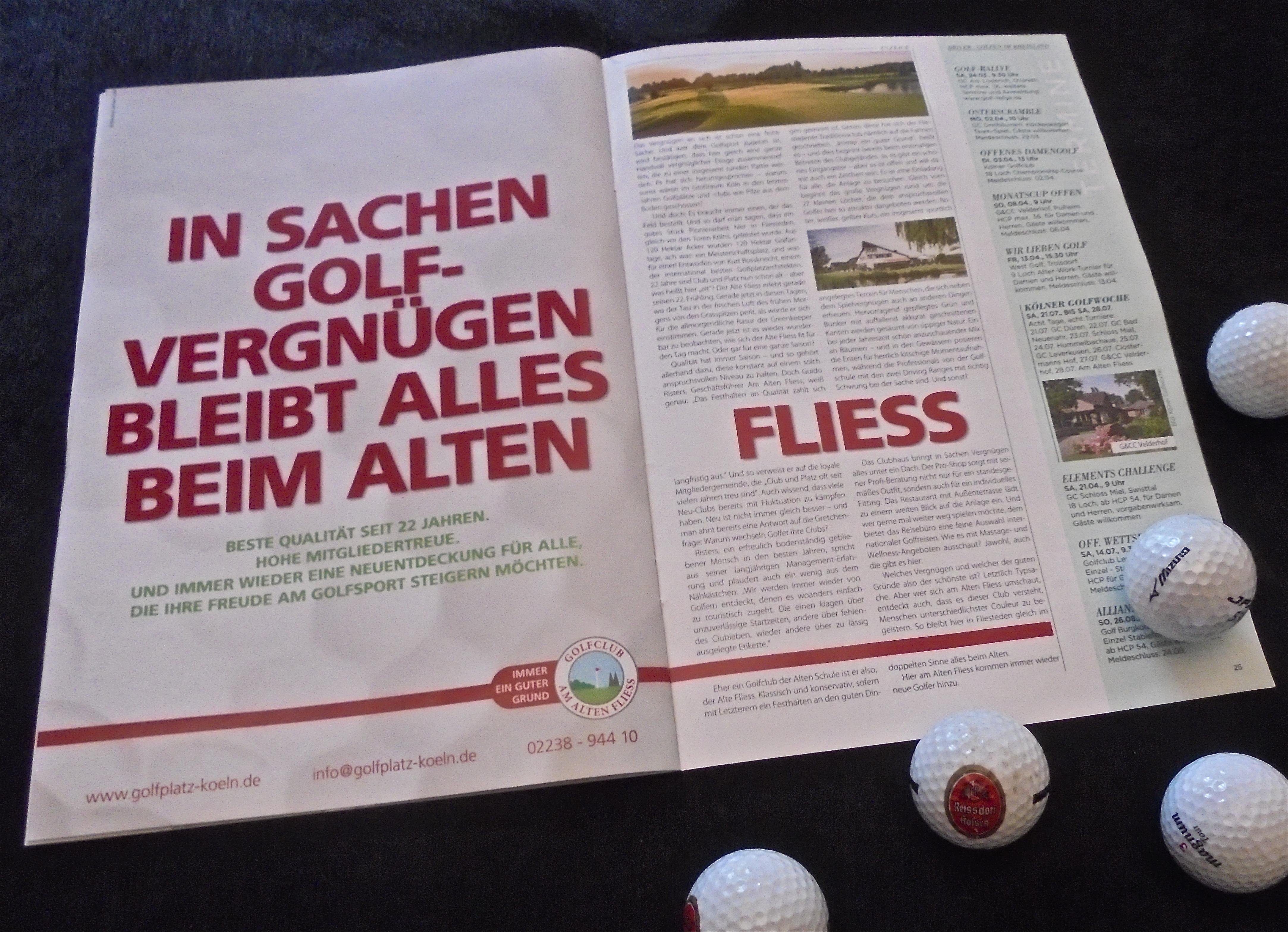 in der heute in den grossen kolner tageszeitungen beigelegten sonderveroffentlichung driver golfen im rheinland sticht die prasentation des golfclub am